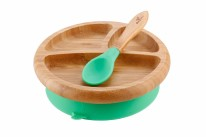 Bamboo Plate & Spoon Green