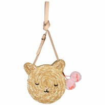 Cat Cross Body Straw Bag