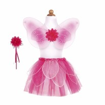 Fancy Flutter Skirt Set- Pink
