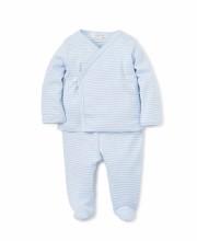 Footed Pant Set Blue Stripe 3M