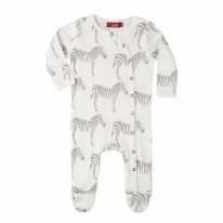 Footie Grey Zebra 0-3m