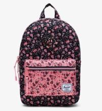 Heritage Kid Backpack Floral Black/Flamingo Pink