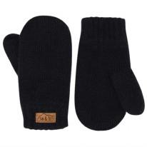Knit Mittens Black 3-9m
