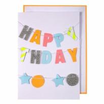 Neon Birthday Garland Card