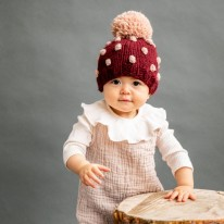 Popcorn Hat Pomegranate 3-12m