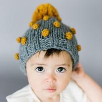 Popcorn Hat - Gray 3-12m