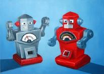 Robot Spat Oil on Canvas