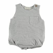 Romper White Stripe 6-9m