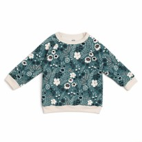 Sweatshirt Teal Flower 12-18m