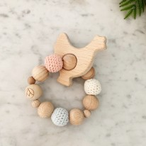 Wood & Crochet Rattle Chicken