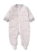 Zip Footie Grey Stripe 0-3m
