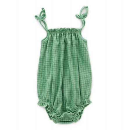 Tie Romper Green Check 12-18m