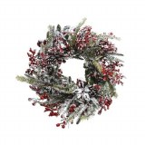 Wreath Frost Red Berries 40cm