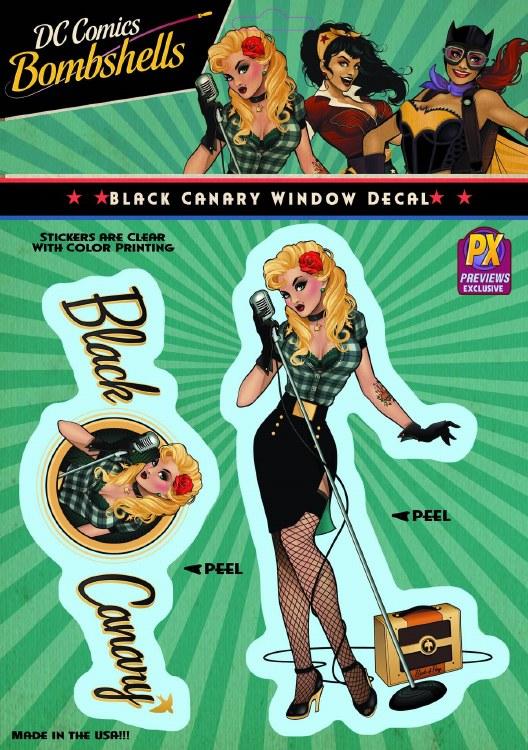 DC Bombshells Black Canary Px Vinyl Decal