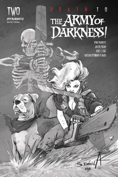 Death To Army of Darkness #2 40 Copy Davila B&W Var SIGNED BY JACOB EDGAR