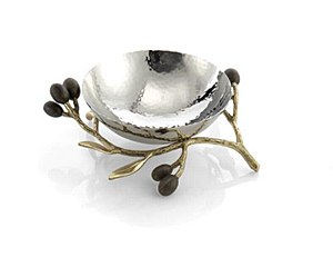 Olive Branch Gold Nut Dish