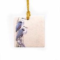 Herons Marble Tile Ornament