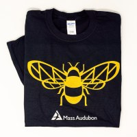 Mass Audubon Bee on Black Tee
