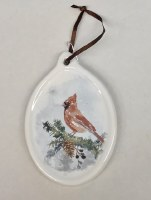 Cardinal on White Ornament