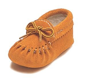 Baby moccasins Suede, fleece lined - Size 4