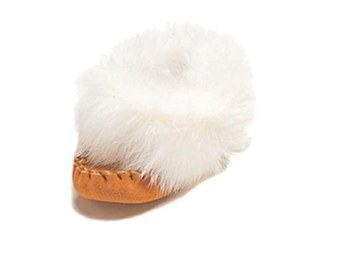 Baby moccasins with rabbit fur - Size 6
