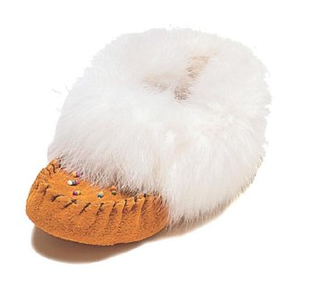 Child Moccasins with rabbit fur - Size 9