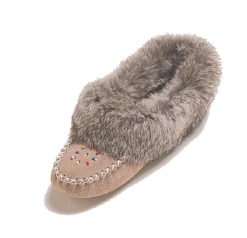 Ladies' Grey Suede moccasins with rabbit fur - Size 6