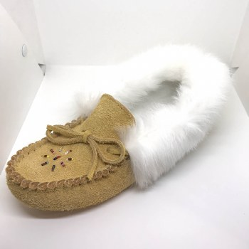 Ladies' brown suede moccasins with rabbit fur - size 8