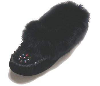 Ladies' Black Suede moccasins with rabbit fur - Size 6
