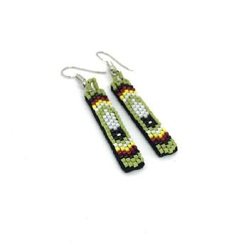 Beaded Feather Design Earrings - Peridot Green