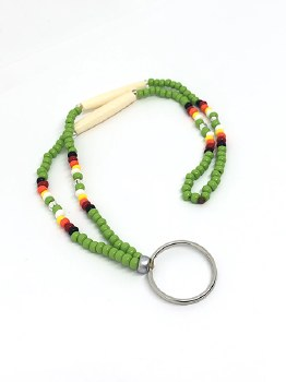"18"" Lanyard - Lime Green with Deer Bone"