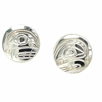 Sterling Silver Round Orca Stud Earrings - Small