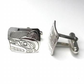 Sterling Silver Cufflinks Rectangular - Wolf