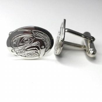 Sterling Silver Cufflinks Oval - Eagle