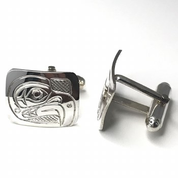 Sterling Silver Cufflinks Rectangular - Eagle