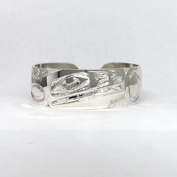 "3/4"" Orca Sterling Silver Bracelet"