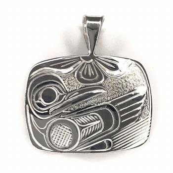 Sterling Silver Rectangle Hummingbird Pendant