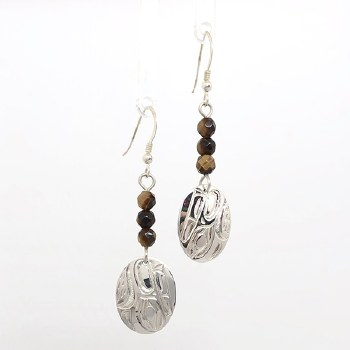 Sterling Silver Wolf with Tiger Eye Earrings