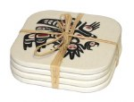 Bamboo Coaster Set of 4 - Running Raven