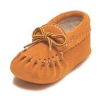 Baby moccasins Suede, fleece lined - Size 2
