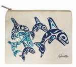 Canvas Pouch Orca Family