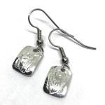Sterling Silver Rectangle Raven Drop Earrings