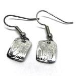 Sterling Silver Rectangle Wolf Drop Earrings