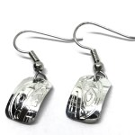 Sterling Silver Rectangle Orca Drop Earrings