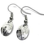 Sterling Silver Oval Orca Drop Earrings
