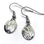 Sterling Silver Oval Wolf Drop Earrings