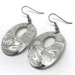 Sterling Silver Oval with Window Bear Earrings - Large