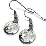 Sterling Silver Round Eagle 1 Drop Earrings