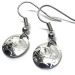 Sterling Silver Round Eagle 2 Drop Earrings