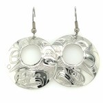 Sterling Silver Round Eagle Drop Earrings